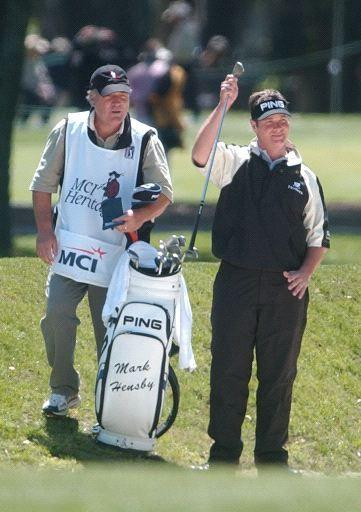 Ted Purdy and Bobby Conlon at the 2005 MCI Heritage. Purdy is using Mark Hensby's clubs.
